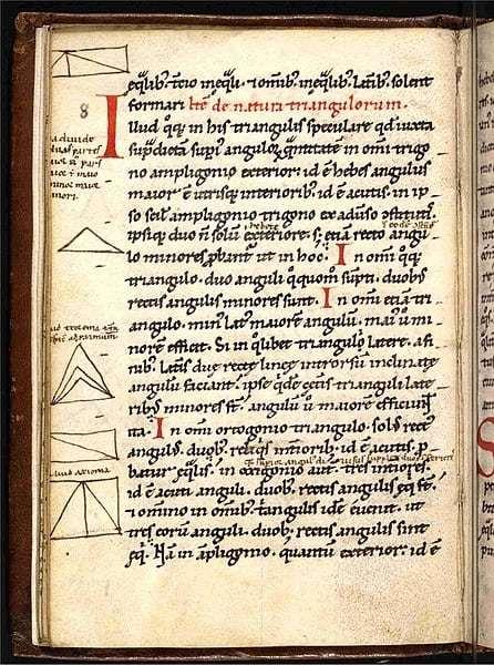 Fragmento de sus publicaciones sobre geometría.